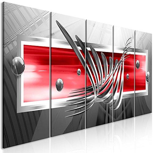 murando Cuadro Abstracto 200x80 cm - Impresion en Calidad fotografica - 5 Partes - Cuadro en Lienzo Tejido-no Tejido - Gris Plata Rojo a-A-0344-b-o