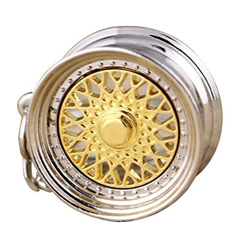 Maycom Creative Hot Auto Part Model BBS Wheel Rim Tyre Keychain Keyring Key Chain Ring Keyfob (Gold) by Maycom -