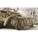 Ross Olive King Size 100% Cotton BrandedBed Sheet Set For Double Bed With 2 Pillow Covers By Mansarover - Designer Printed, Premium Quality, Soft & Breathable, Hypoallergenic, Natural & Health Friendly 3 Pc Luxury Bedding Combo Offer For Hom