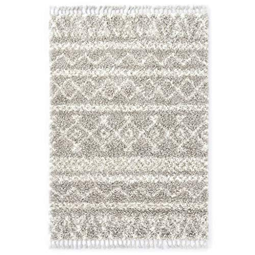 Vidaxl tappeto shaggy berbero naturale elegante con frange lavorate a mano pelo alto corsia passatoia in pp sabbia e beige 80x150 cm