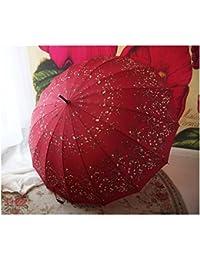 Paraguas retro de verano de mango largo Paraguas de estilo japonés de 16 huesos Flores de