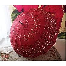Paraguas retro de verano de mango largo Paraguas de estilo japonés de 16 huesos Flores de cerezo Windproof paraguas grande paraguas Ms ( Color : #2 )