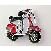 Spilla in metallo smaltato per scooter Vespa (rosso e bianco)