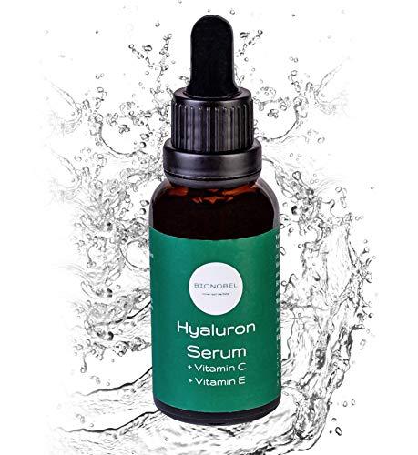 Bionobel Hyaluronsäure Hautpflege Serum | Natürliche Feuchtigkeit, Anti Aging, Anti Falten | Gegen Augenringe, Tränensäcke, Altersflecken für Männer & Frauen | Stärkt Kollagen, Toner, Vitamin C und E
