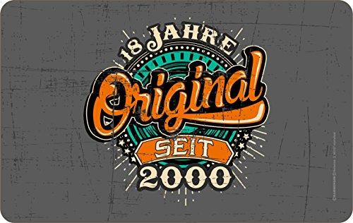 RAHMENLOS Original Frühstücksbrettchen Schneidbrettchen zum 18. Geburtstag: Original 18 Jahre seit 2000
