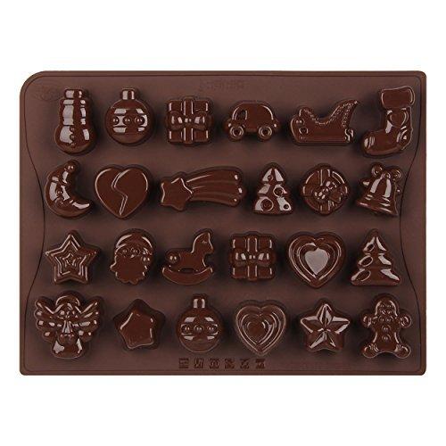 Dr. Oetker Silikon-Schokoladenform, Form für 24 Köstlichkeiten, hochwertige Silikonbackform für Schokolade, Gebäck oder Eis (Farbe: braun), Menge: 1 Stück (Antihaft-mini-schneemann)