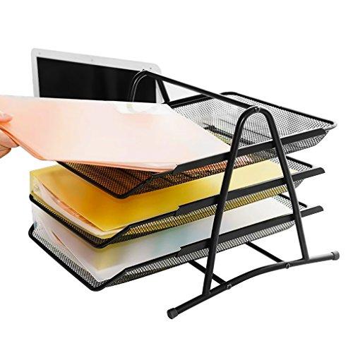 Tisch Mesch Organizer 3 Fächer Desktop Briefständer Schreibtischorganizer Multifunktionale Briefhalter für Schule und Büro Schwarz