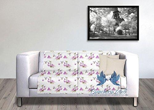 Coingrostex telo arredo grand foulard copritutto copridivano 1 piazza con fantasia floreale disegno colibrì