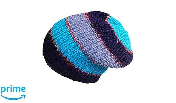Fair Trade Boho Hand Knitted Fleece Lined Wool /& Silk Beanie Hat