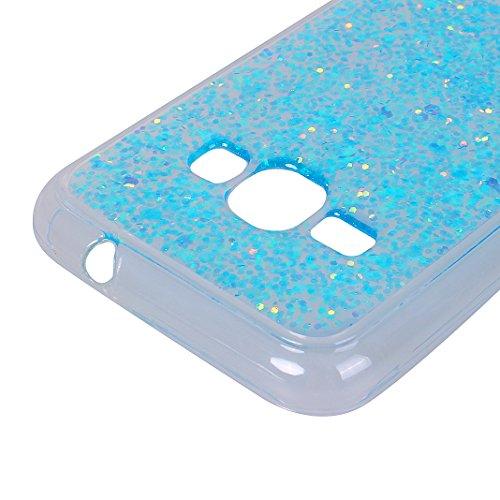Étui iPhone 7 Silicone, Coque iPhone 8 Paillettes, Coque iPhone 7 Souple, Moon mood® Brillante Sequins Bling Houss Coque de Protection Soft Case Cover TPU Bumper Dossier Étui de Protecteur Pétiller Co Bleu