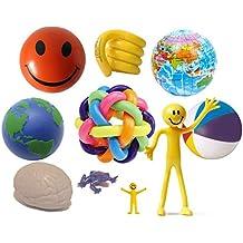 StressCHECK - Kit de juguetes sensoriales, 10unidades, bolas de estrés, muñeco flexible, bola del mundo arco iris, muñeco elástico, juguete enredado