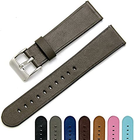 CIVO Quick Release Simple Watch Strap Top Grain Genuine Leather Watch Bands Smart Watches Band Stainless Steel Buckle 18mm 20mm 22mm with Top Spring Bar Tool and 2 Quick Release Spring Bars Bonus (Gray Green,