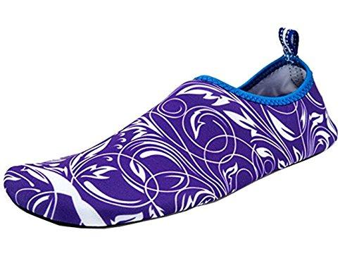 SMITHROAD Unisex Aquaschuhe Strandschuhe Surfschuhe Schnelltrockene Rutschfeste Schwimmschuhe für Damen Herren Kinder Lila
