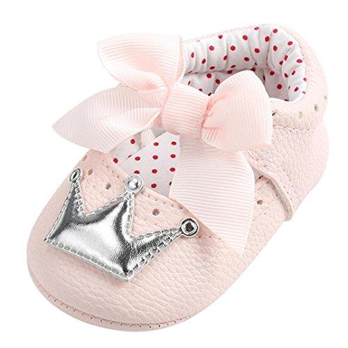 manadlian Chaussures Bébé Chaussures Princesse Bébé Fille Couronne Souple Anti-Slip Sneakers Bebe Filles Premiers Pas pour 0-6, 6-12, 12-18 Mois