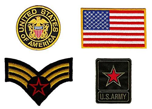 Patch USA Army Aufnäher 4 Stück Bügelbilder Applikation -