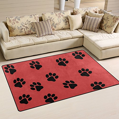 bennigiry Paw Print Bereich Teppich Teppich Rutschfest Fußmatten Fußmatte für Wohnzimmer Schlafzimmer 78,7x 50,8cm, Polyester, Multi#002, 60 x 39 inch