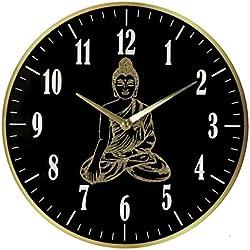 Hestia–Portavelas de Buda reloj de pared de cuarzo grande blanco y oro 30cms