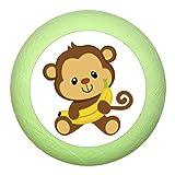 """Türknopf """"Affe Banane"""" lindgrün grün Holz Buche Kinder Kinderzimmer 1 Stück wilde Tiere Zootiere Dschungeltiere Traum Kind"""