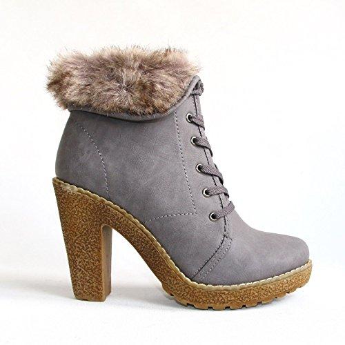De Nova Sapatos Cinza Ga8469 36 Stiefeletten Inverno Botas Senhoras Hikenn De 41 Sapatos wfqFgEC