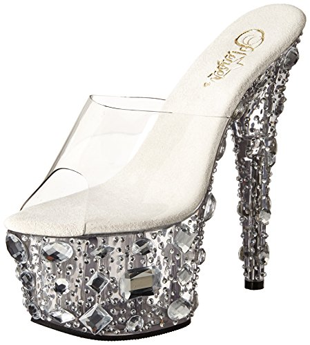 Pleaser Adore-701mr, Sandales Bout ouvert femme Transparent (Clr/Clr)