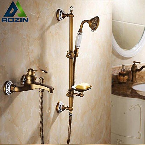 Luxurious shower Im europäischen Stil Messing Handheld Badewanne Dusche Wasserhahn mit Slide Bar + Handheld Duschkopf Bad Badewanne Dusche Mischbatterien (Mit Slide Bar Duschkopf)