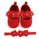 EDOTON 2 Pcs Kleinkind Schuhe+ Stirnband, Baby Mädchen Blumen Schuh Anti-Rutsch-Weiche Besondere Anlässe Taufe Hochzeit Party Schuhe (6-12 Monate, Rot)