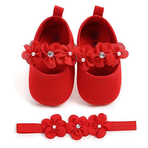 EDOTON Baby Mädchen 2 Pcs Kleinkind Party Schuhe Mit Stirnband, Rot, Gr.- 0-6 Monate/Herstellergröße- 1