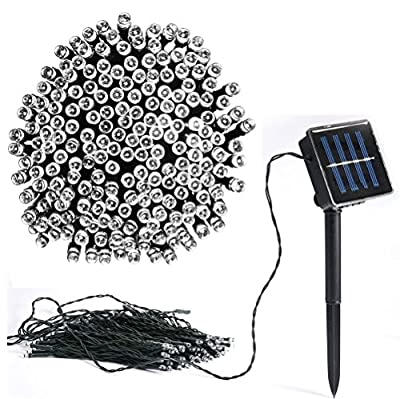 Vlio 8Modes Led Solar Power Fairy String Lights Outdoor Decorative Light 50 100 200 LEDs Waterproof IP44 with Light for Garden Home Wedding Party Christmas Halloween, 100Leds white, 50led