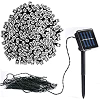 Vlio 8Modes White color Led Solar Power Fairy String Lights Outdoor Decorative Light 50 LEDs Waterproof IP44 with Light for Garden Home Wedding Party Christmas Halloween