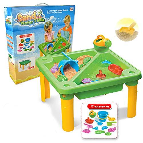 Rclhh Sand Wasser Tabelle 2 in 1 Aktivität Tabelle Spray Spielzeug, Kinder Outdoor Garten Spiel mit Schaufel Gießkanne Sommer Strand Spielzeug, Geeignet für Kinder Jungen und Mädchen Geschenke