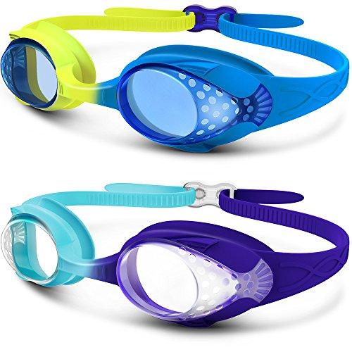 OutdoorMaster Premium Kinder Schwimmbrille, Lustige Fisch-Stil für Kinder (4-12 Jahre), mit auslaufsicherem Design, bruchsicherer Anti-Fog-Linse und Schnellverschluss - 100% UV-Schutz (2er Pack)