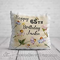 65th Birthday Cushion for her - 65th Birthday Gift for Women - Personalised 65 Birthday Pillow Mum Grandma Nan 40 x 40cm / 16 x 16in Cushion Cover Pillowcase
