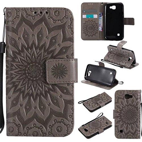 LG K3 (3G) Hülle, LG K3 (3G) wallet Hülle, Gift_Source [ Grau ] Magnetisch Dünn Leder Folio Flip Klapphülle Etui Schutzhülle Tasche Case mit Magnetverschluss und Kartenfächer Handy Tasche Hülle Cover Brieftasche Handytasche für LG K3 (3G)/LG LS450 (Flip 3g Folio)