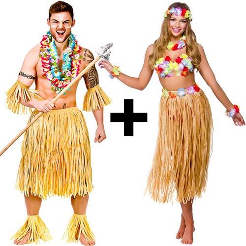 Couples Hawaiian Costume Set. Mens Zulu Warrior Costume and Ladies Hawaiian Party Girl