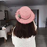 FERZA HOME Hat Summer Women Fashion Wild Korean Sun Hat Collapsible Sun Hat Hat Beach Hat Sun Hat Hat Tide (Color : Pink)