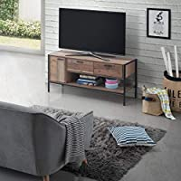 Timber Art Design Stretton Urban Living Room Large TV Unit Cabinet 1 Door 2 Drawer Rustic Industrial Oak Effect