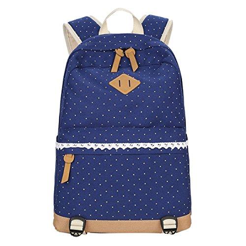 Yy.f Neuer Leinwand Schulterbeutel Der Frauen Multifunktionsrucksäcke Neue College Wind Lässige Taschen Bunte Taschen Blue