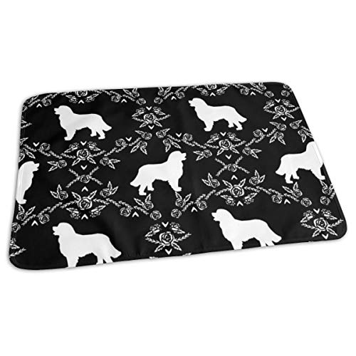 Bernese Mountain Dog Floral Silhouette Black And White, Baby Portable Reusable Changing Pad Mat 19.7