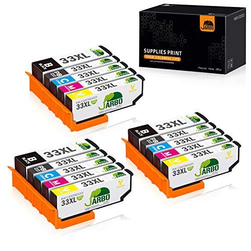 JARBO Ersatz für Epson 33XL 33 XL Druckerpatronen für Epson Expression Premium XP-540 XP-830 XP-900 XP-645 XP-530 XP-630 XP-640 XP-635 XP-7100, 3 Schwarz/3 Blau/3 Rot/3 Gelb/3 Foto-schwarz, 15er-Pack