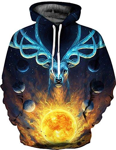KamiraCoco Herren Kapuzenpullover 3D Druck Muster Hoodie Weihnachten Halloween Sweatshirt Pullover Kosmische Hirsche