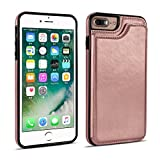 UEEBAI Case for iPhone 6 6S, Luxury PU Leather Case with [Two Magnetic Clasp] [Card Slots] Stand Function Durable Shockproof Soft TPU Case Back Wallet Cover for iPhone 6/6S - Rose Gold