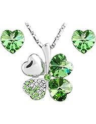 Le Premium - Conjunto de colgante y pendientes chapados en oro blanco con cristal Swarovski en forma de corazón - Color verde