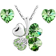 Le Premium® insieme dei monili trifoglio ciondolo collana + orecchini a forma di cuore SWAROVSKI peridoto cristalli verdi