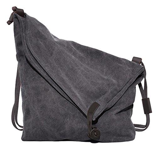 Coofit Preppy Retro Unisex Leinen Kuriertasche,  32,8 x 6,8 x 38,9 cm, Grey (Stoff Tasche Handtasche Damen)