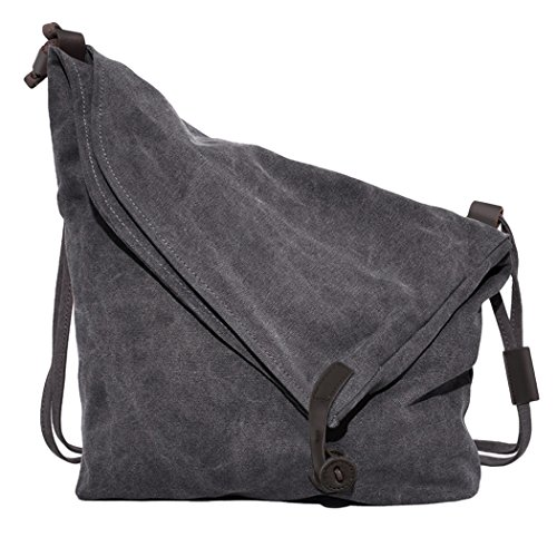 Coofit Damen Herren Canvas Leinwand Rucksack Umhängetasche Messenger Bag Schultertasche Tasche