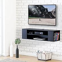 FITUEYES Madera Grano Mesa Flotante para TV Mueble para Audio Video Negro DS210002WB