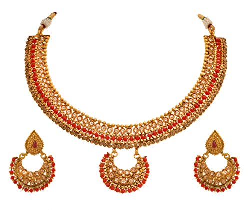 2483ca7b3e JFL - Traditional Ethnic One Gram Gold Plated Red Stone LCD Champagne Polki Diamond  Designer Necklace