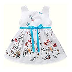 Girl Princess Dress, Transer® Baby Girls Clothes 1-7 Years Bowknot Dress for Girls Princess Dress Kids Swing Party Dress with Floral Butterfly Printed Zipper Dresses