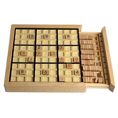 Andux Zone Holz Sudoku Brett Spiele Mit Schublade SD-02 (Schwarz)