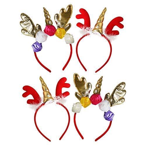 Horner Neuheit Kostüm - by Robelli Einhorn Rentier Hupe Weihnachten Verkleidung Stirnband (2 Design) - Pack 4